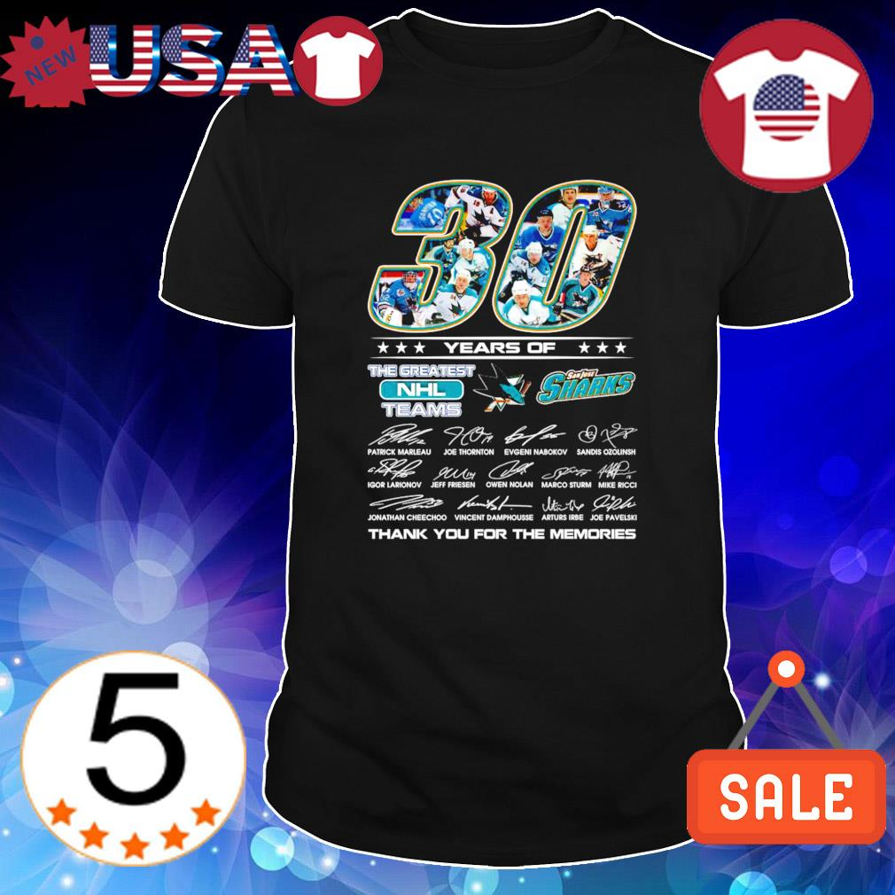 San Jose Sharks 30 years the greatest NHL teams thanks for the memories shirt