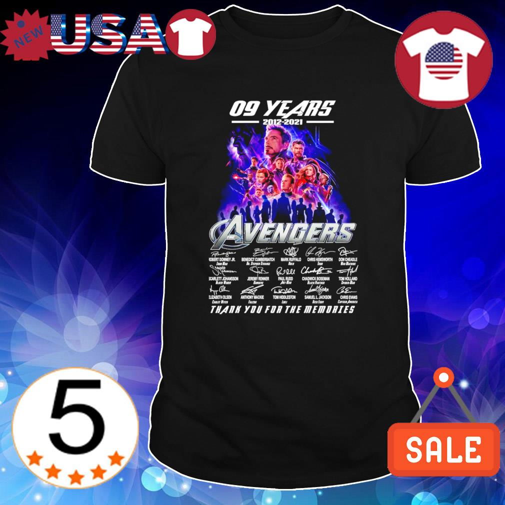 09 years of Avengers 2012 2021 thank you for the memories shirt