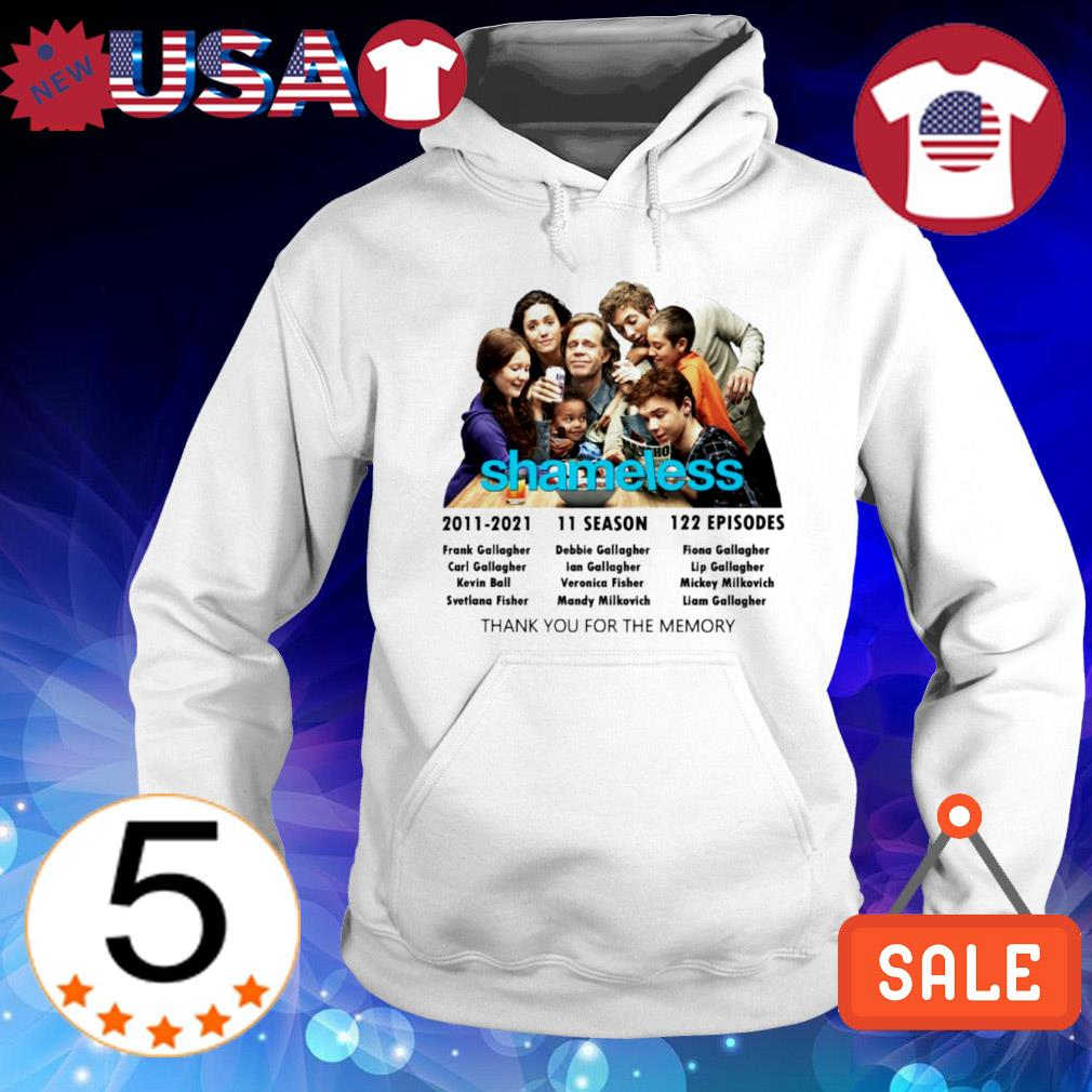 10 years of Shameless 2011 2021 characters signature s Hoodie White