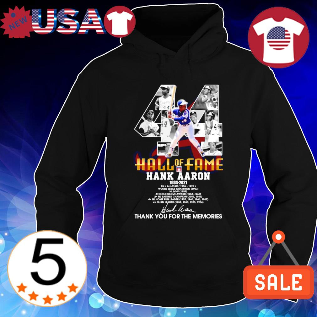 44 hall of fame Hank Aaron 1934 2021 thank you for the memories s Hoodie Black