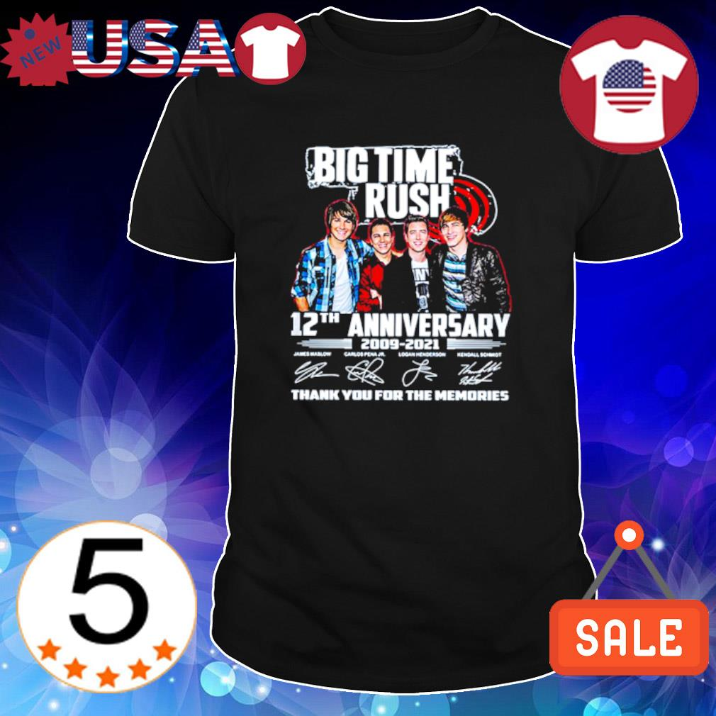 Big Time Rush 12th Anniversary 2009 2021 thank you for the memories shirt