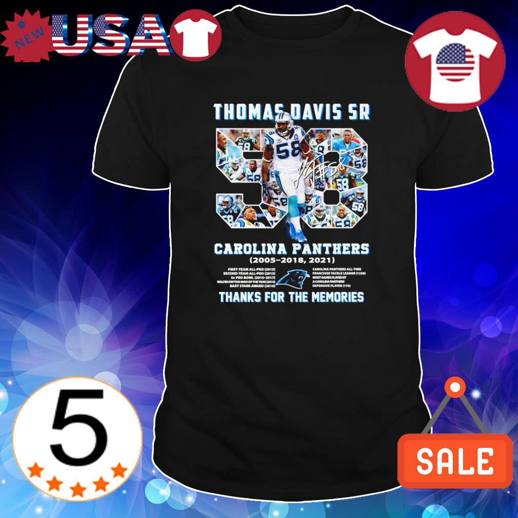 Carolina Panthers Thomas Davis Sr 2005 2018 thanks for the memories shirt