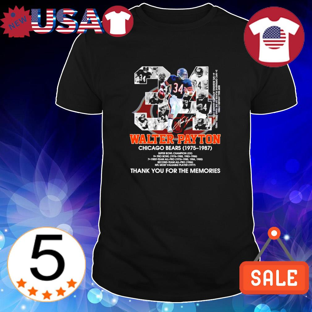 Chicago Bears 1975 1987 Walter Payton thank you for the memories shirt