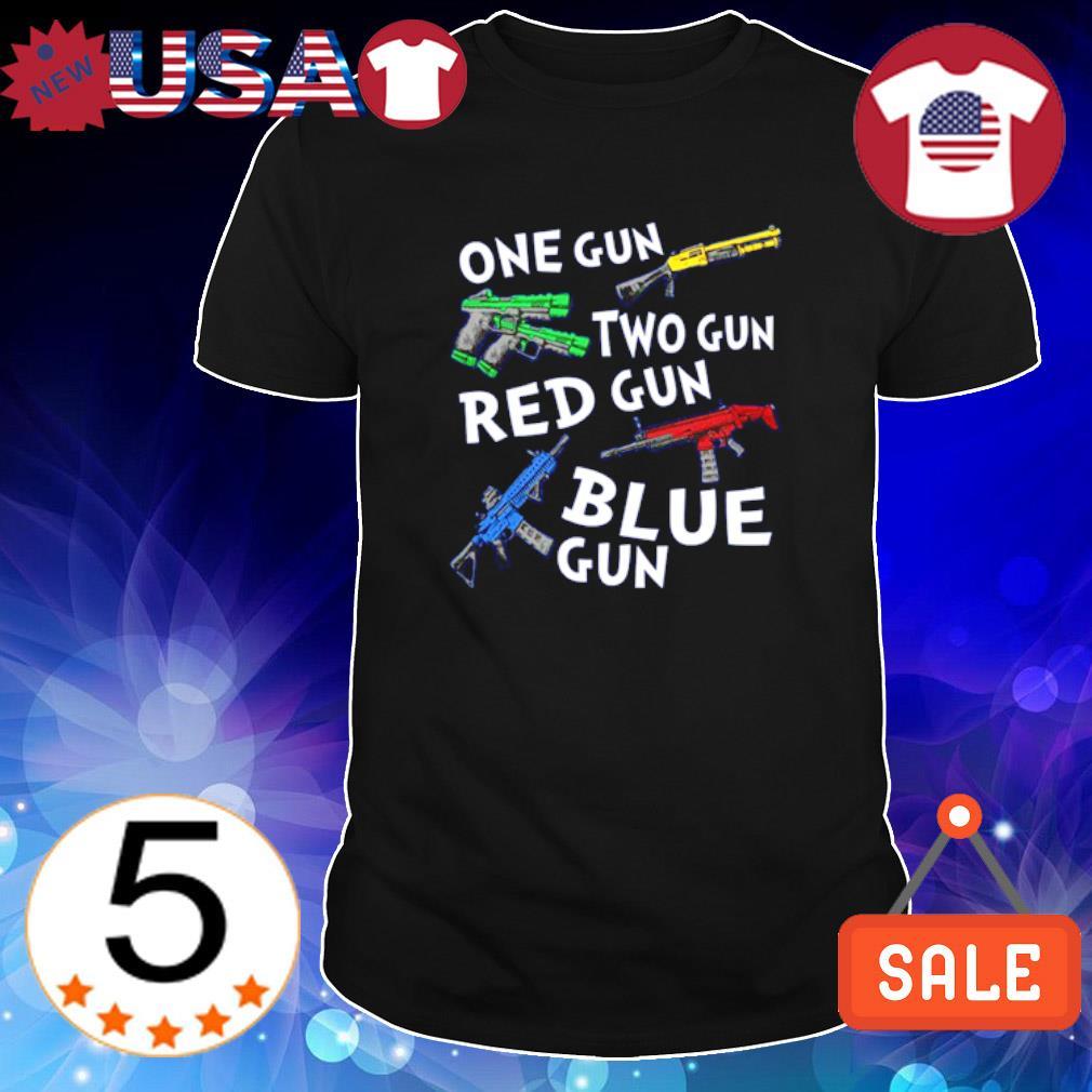 One gun two gun red gun blue gun shirt
