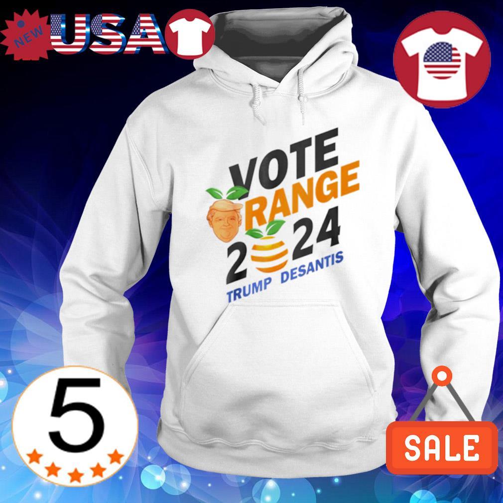 Vote Orange Trump DeSantis 2024 s Hoodie White
