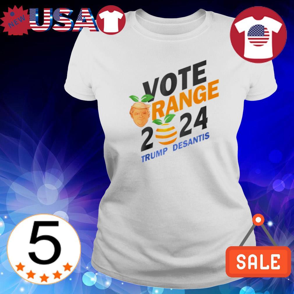 Vote Orange Trump DeSantis 2024 s Ladies Tee-White