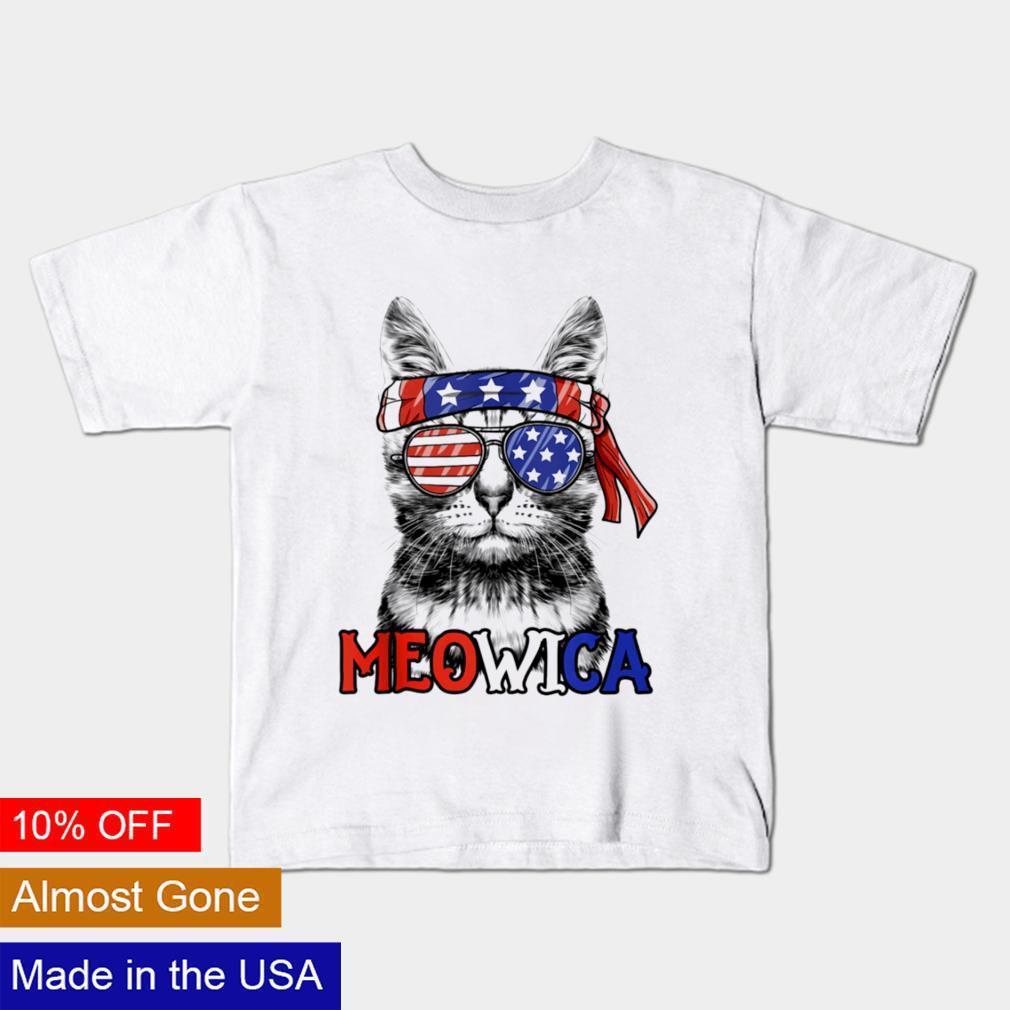 Meowica Patriotic American flag 4th of July shirt