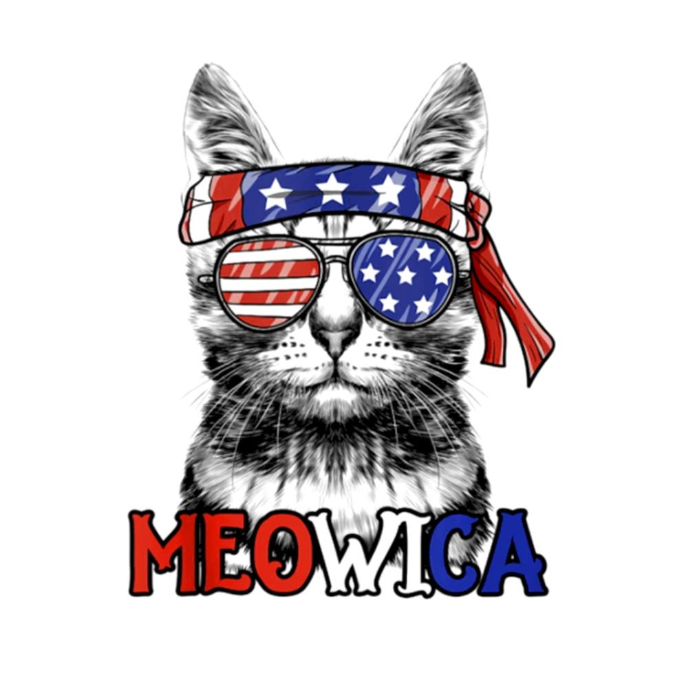 Meowica Patriotic American flag 4th of July t-shirt