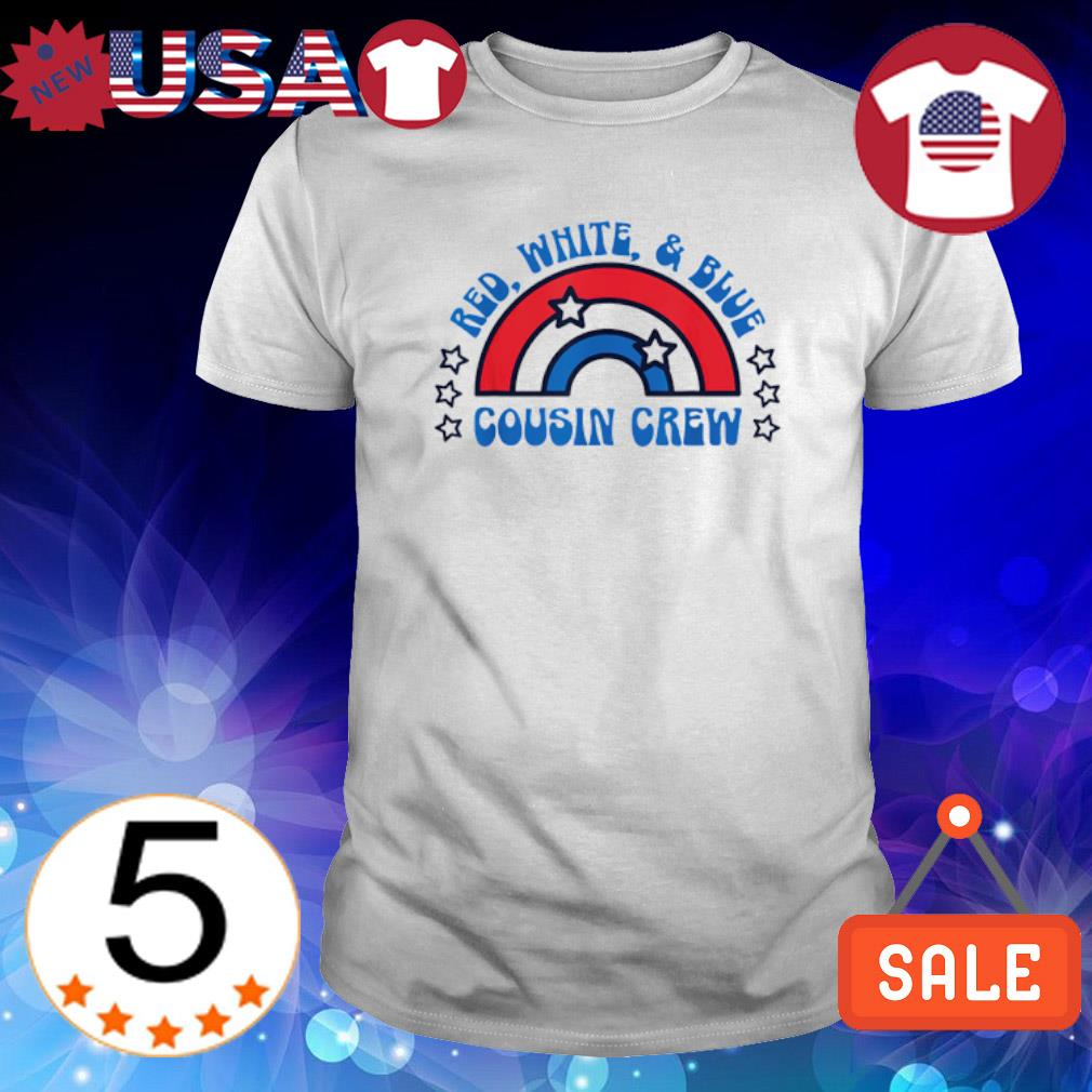 Rainbow red white and blue cousin crew shirt