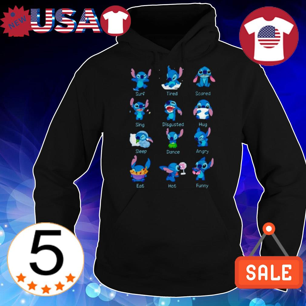 Stitch Disney surf tired scared sing disgustted hug sleep dance angry eat hot funny shirt