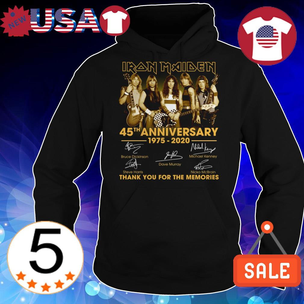 Iron Maiden 45th anniversary 1975-2020 thank you for the memories signatures shirt