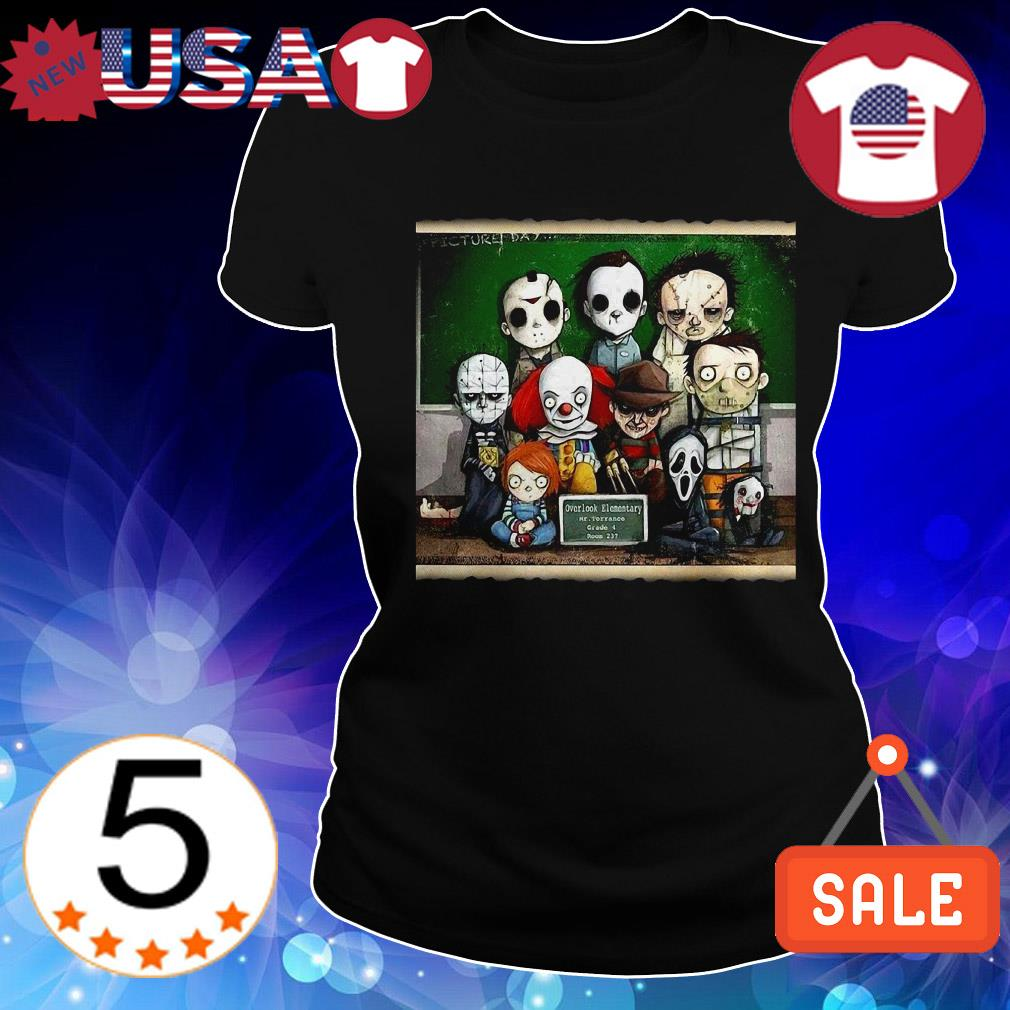 Horror Movie characters Chibi students in class Halloween shirt