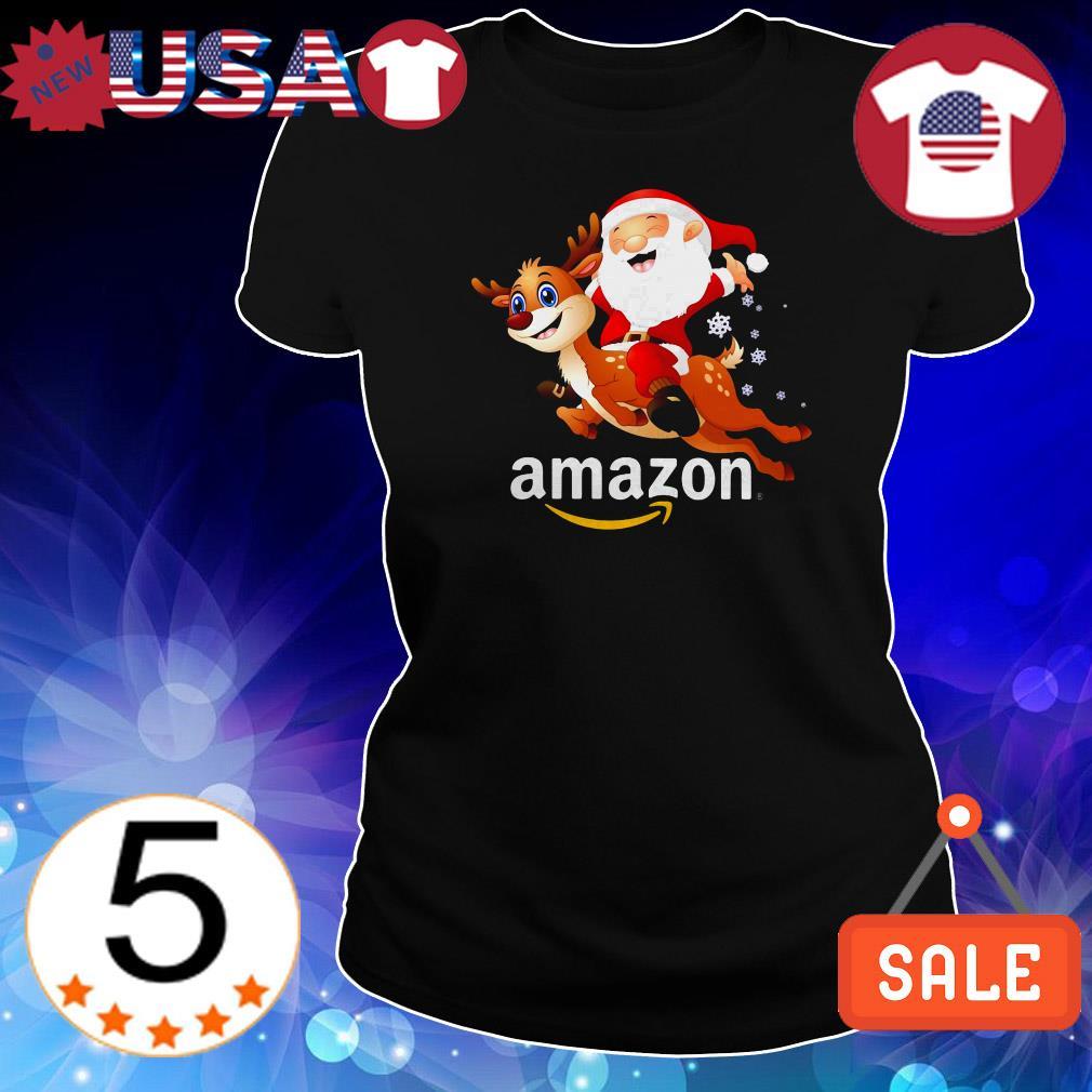 Amazon Santa Claus riding Reindeer Christmas shirt