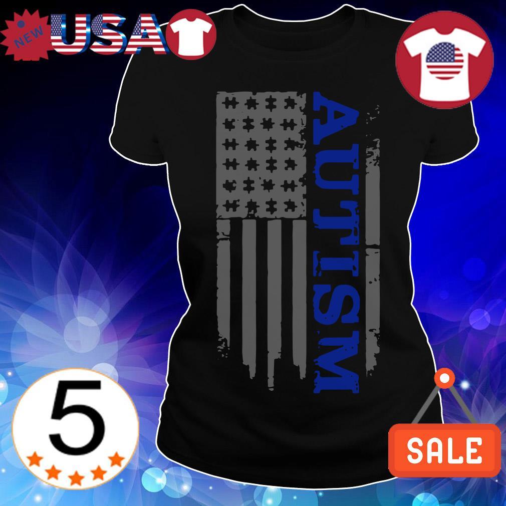 Autism Awareness American flag veteran shirt
