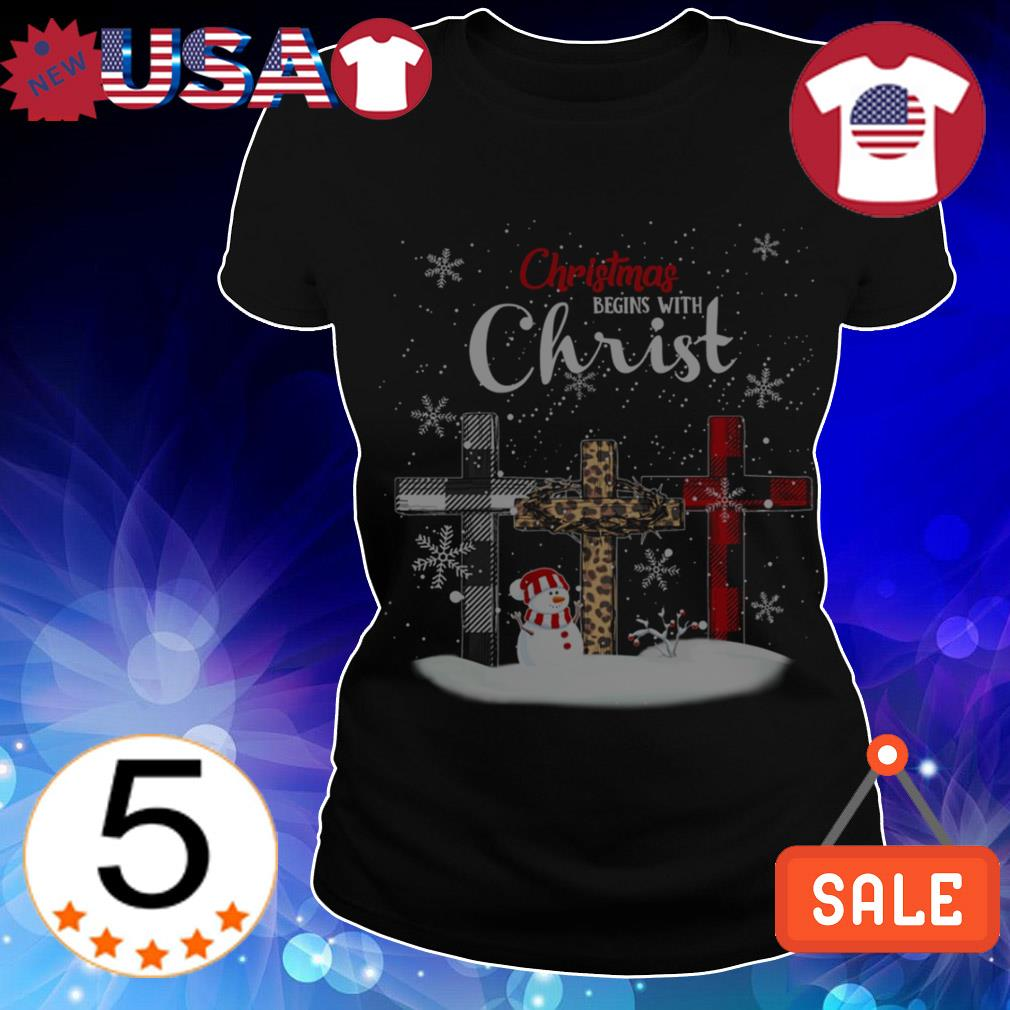 Christmas begins with Christ cross sweater