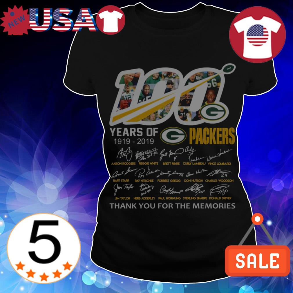 Green Bay Packers 100 years of Packers player signature thank you for the memories shirt