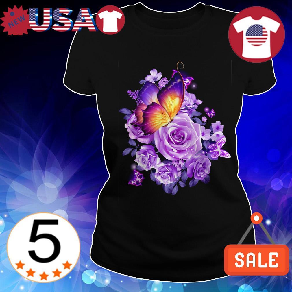 Butterfly purple flowers shirt