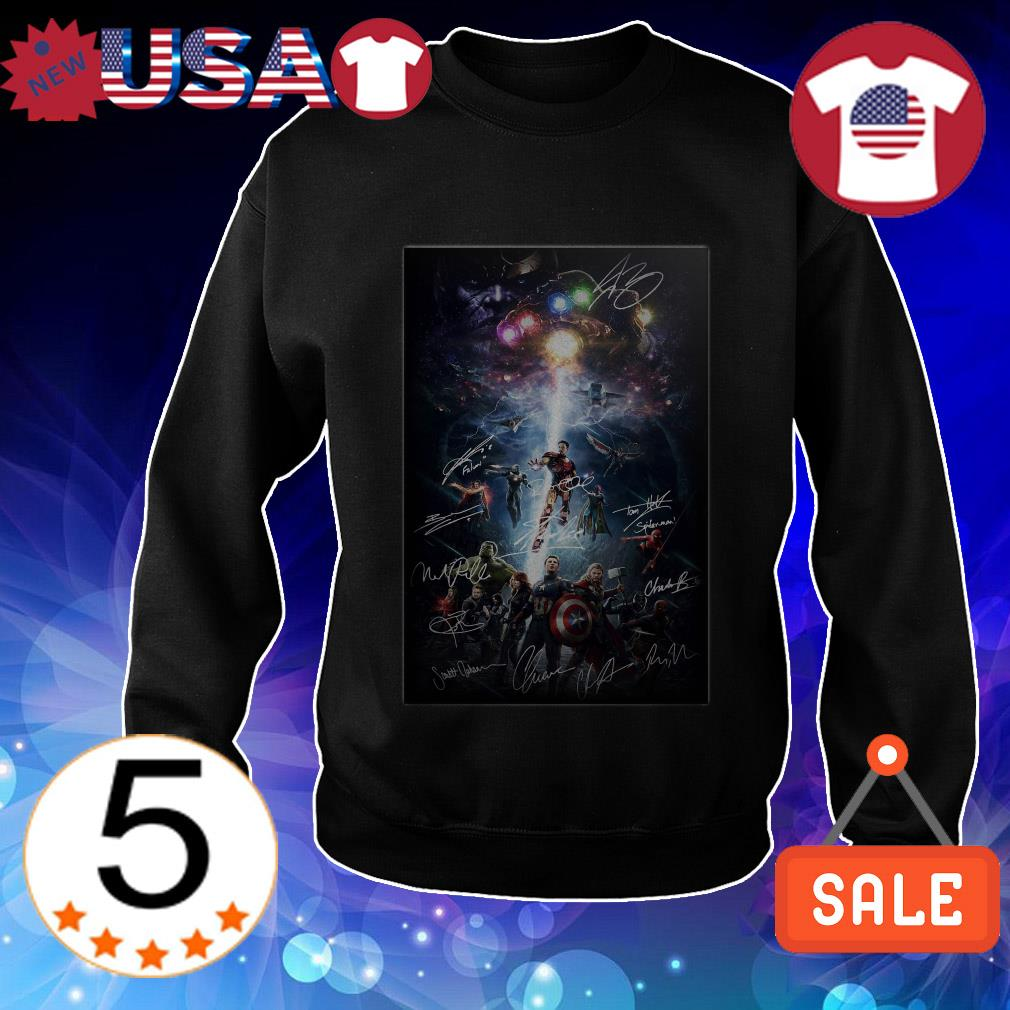 Marvel Avengers characters signatures shirt