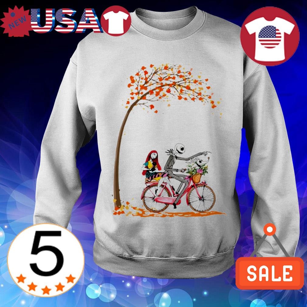 The Nightmare Before Christmas Sally and Jack Skellington autumn leaf tree shirt