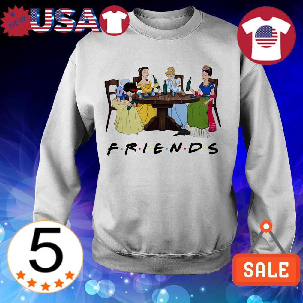 Frida Kahlo and Disney princesses drinking Friends TV show shirt