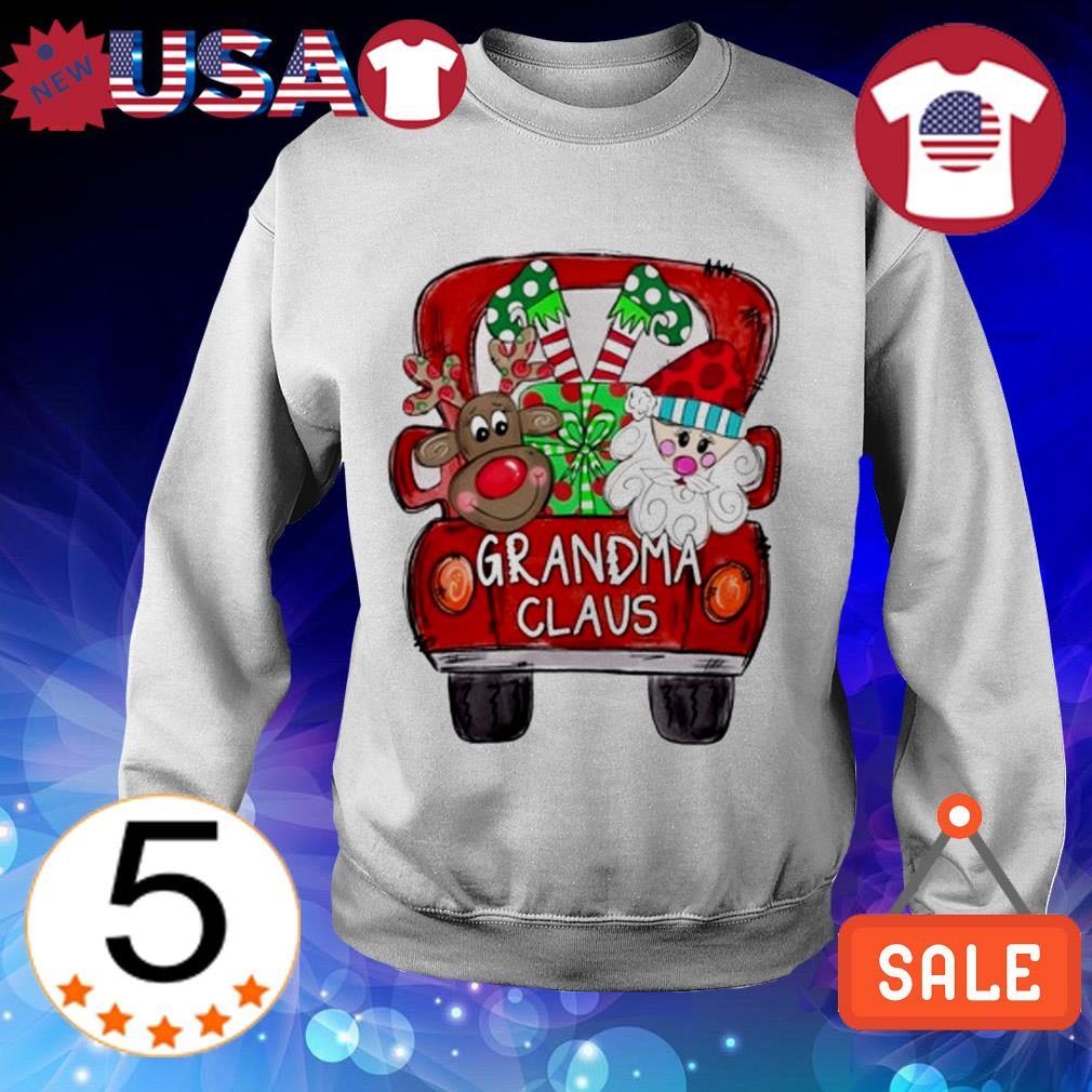 Merry Christmas Red car and gift Grandma Claus Sweater