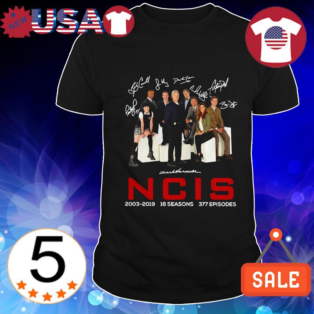 16 years of NCIS 2003 2019 16 seasons 377 episodes signatures shirt