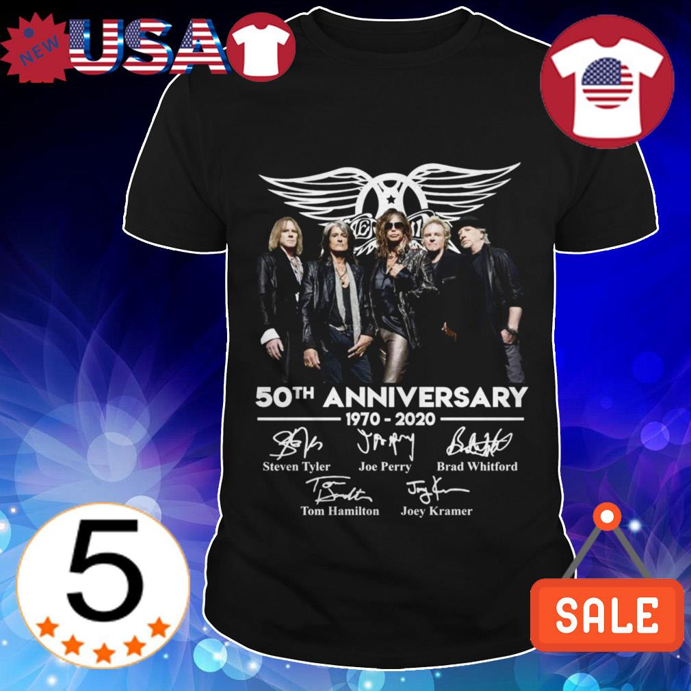 Aerosmith 50th anniversary 1970-2020 thank you for the memories signatures shirt