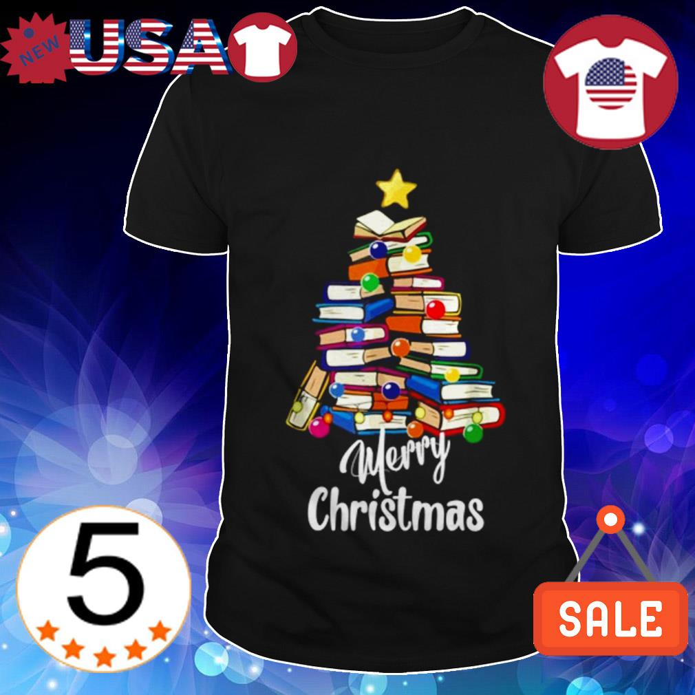 Merry Christmas book tree sweater