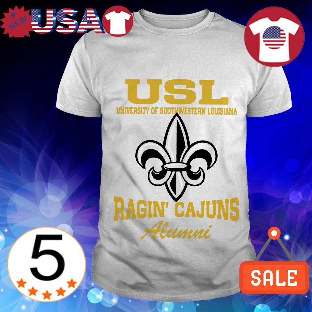 USL United Soccer League University of Southwestern Louisiana New Orleans Saints Ragin' Cajuns Alumni shirt