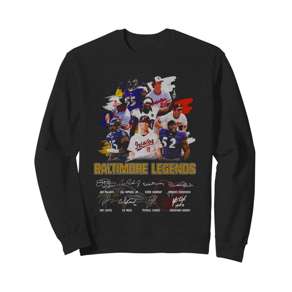 Baltimore Ravens Legends team player signatures shirt