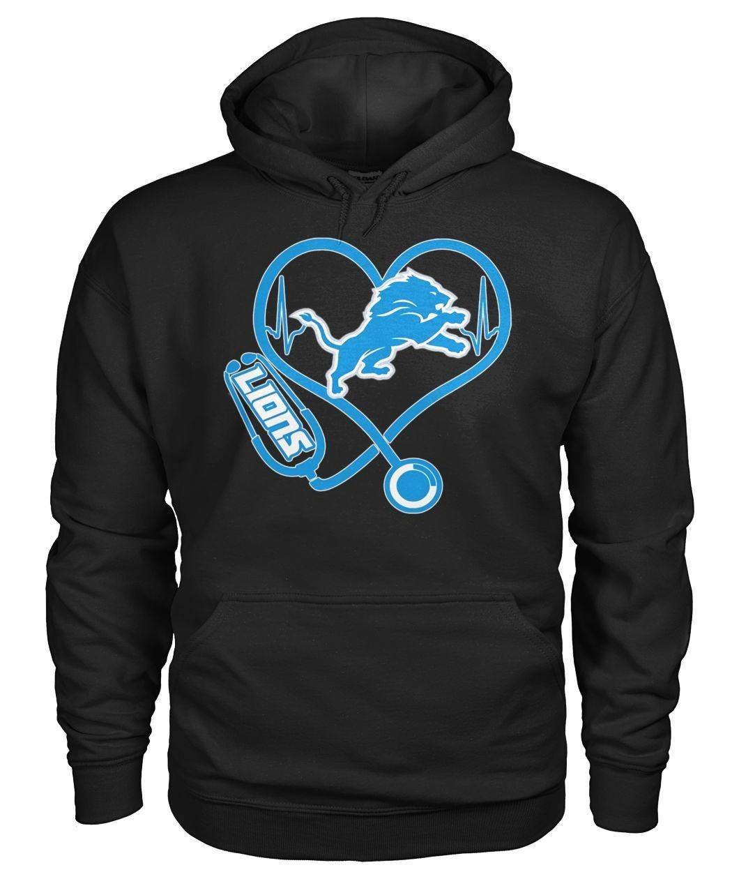 Nurse heartbeat Detroit Lions Hoodie