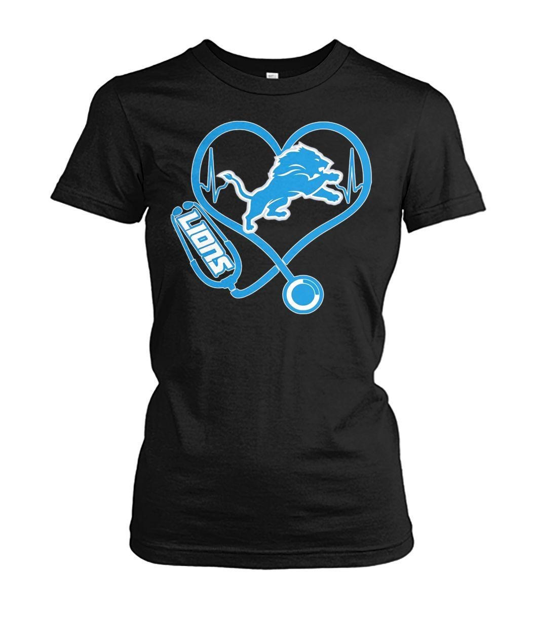 Nurse heartbeat Detroit Lions Ladies Tee
