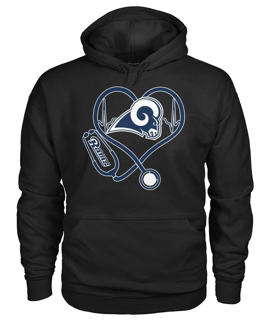 Nurse heartbeat Los Angeles Rams Hoodie