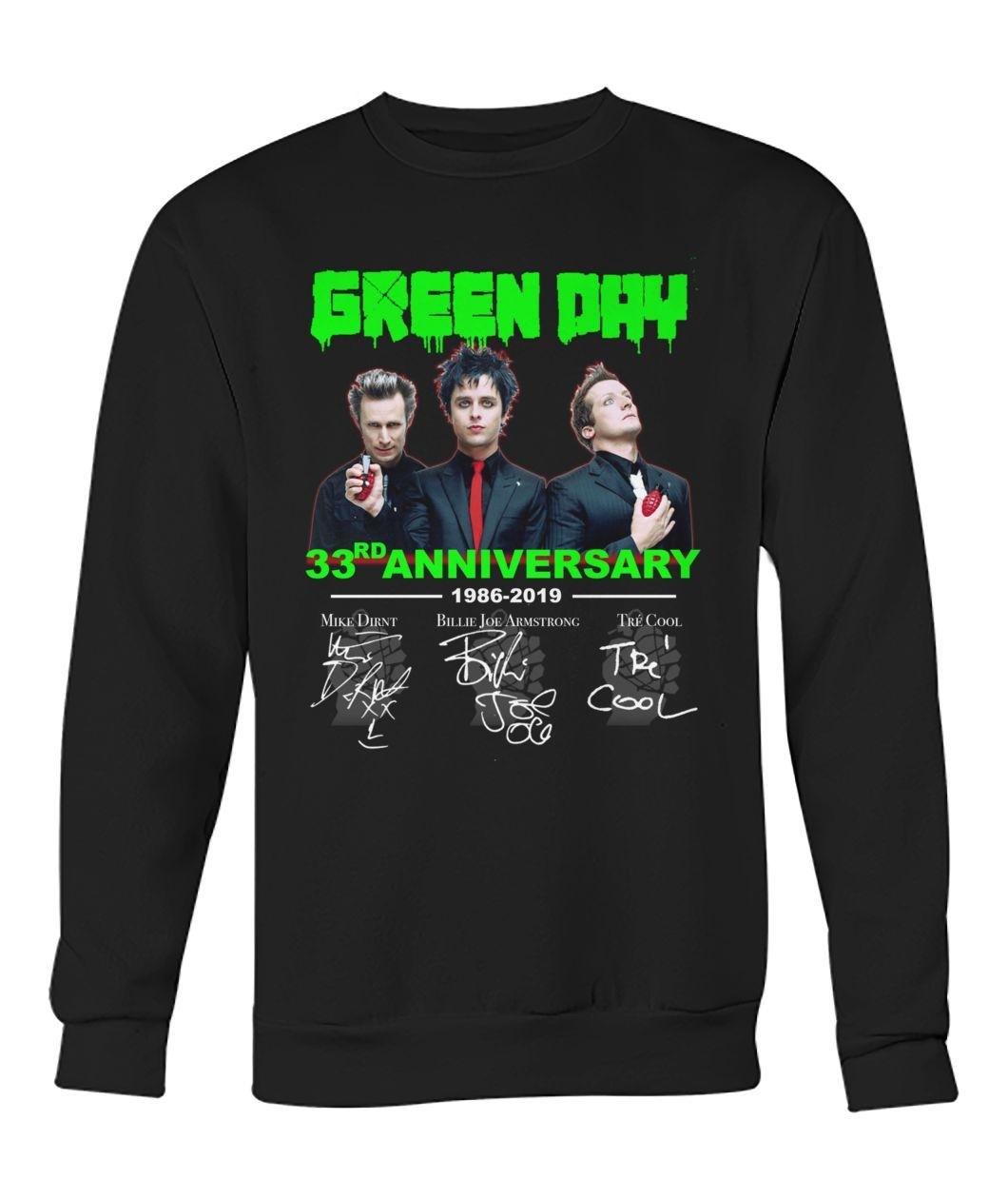 Official Green Day 33rd Anniversary 1986-2019 signatures shirt
