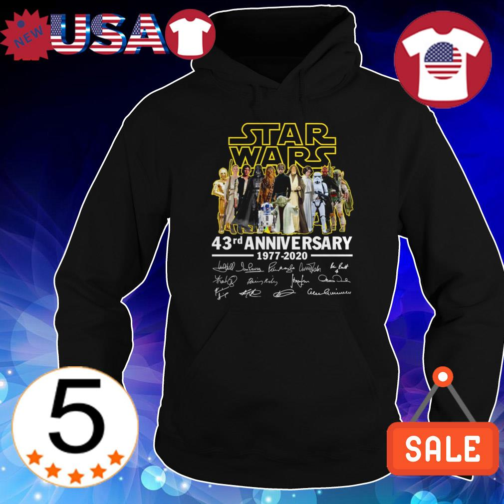 Star Wars 43rd Anniversary 1977-2020 characters signatures shirt