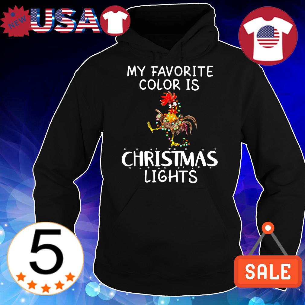 Chicken my favorite color is Christmas lights sweater