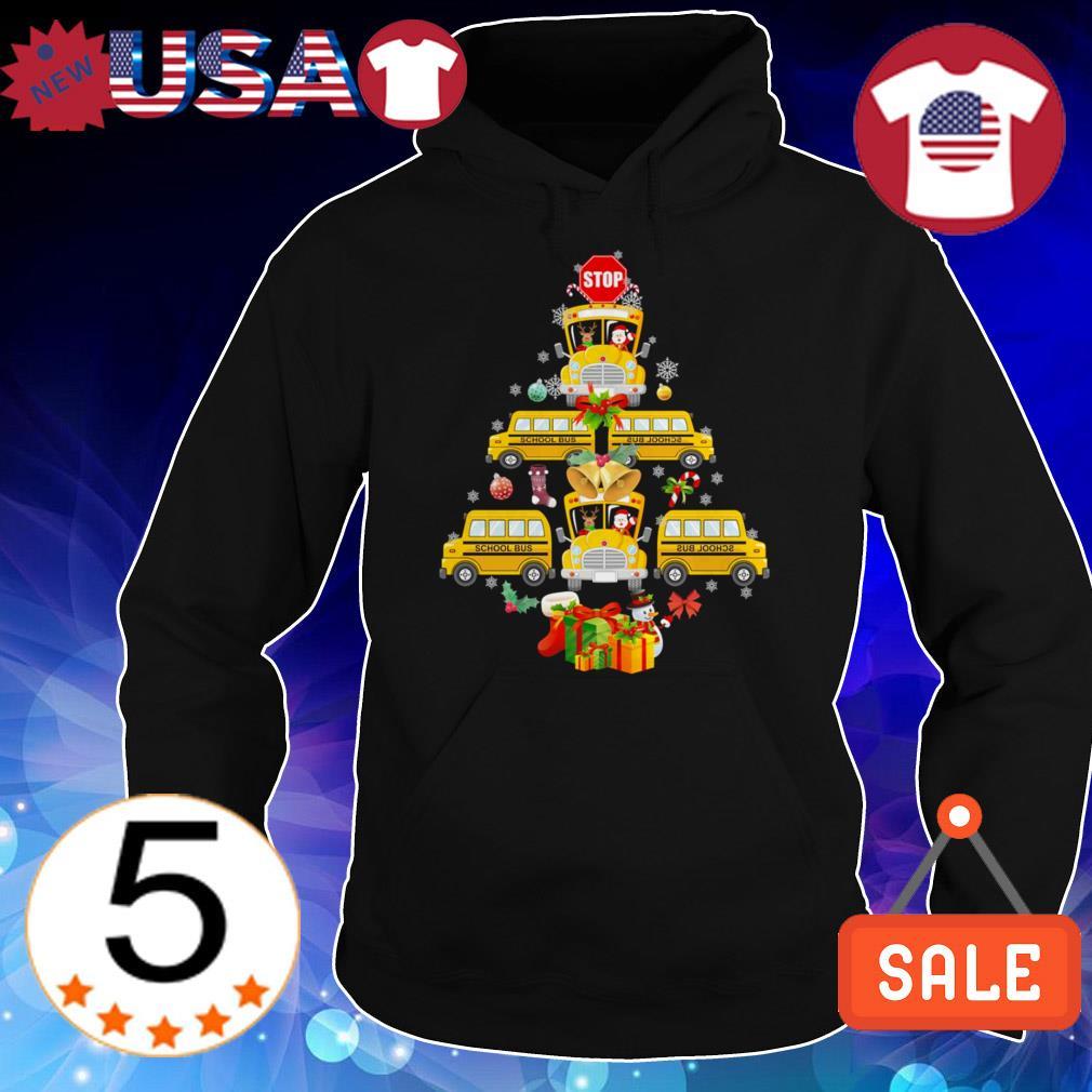 School Bus pine Tree Christmas sweater