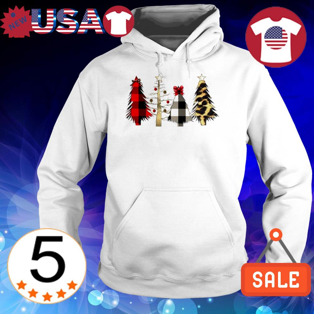 Christmas trees black red white Leopard sweater