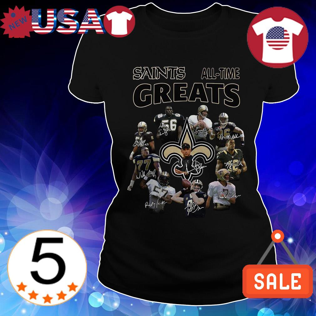 New Orleans Saints All Time Greats team players signature shirt