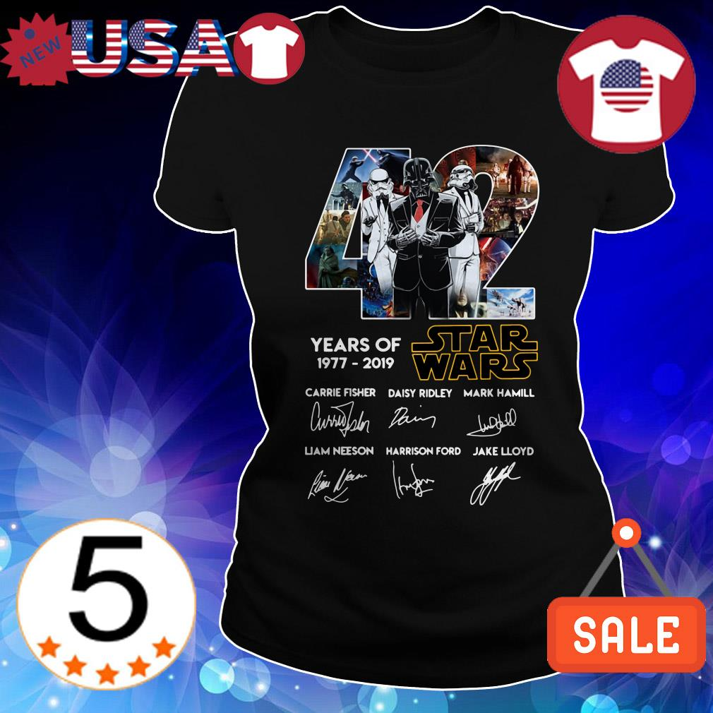 42 Year of Star Wars 1977-2019 signature shirt