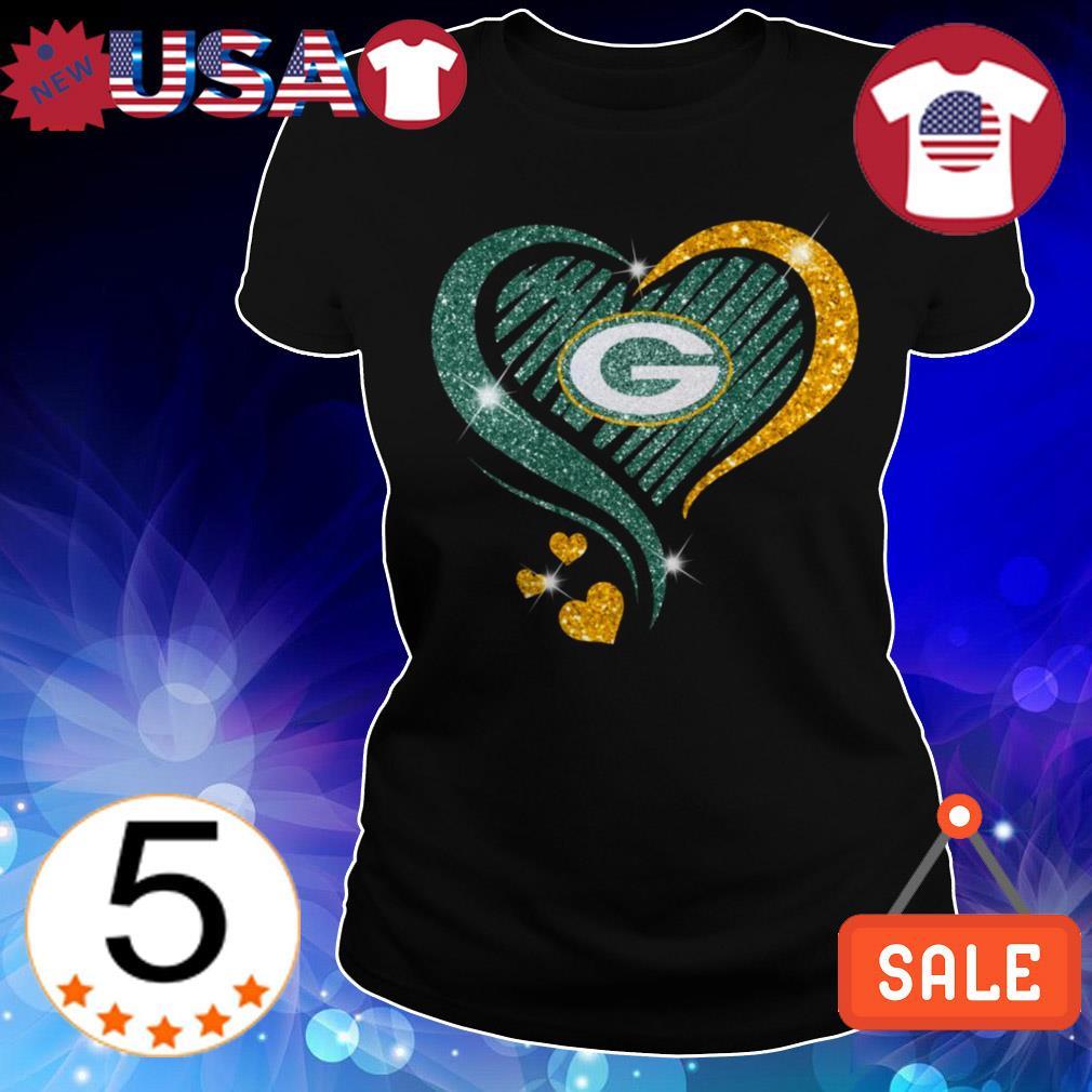 Diamond Green Bay Packers hearts shirt