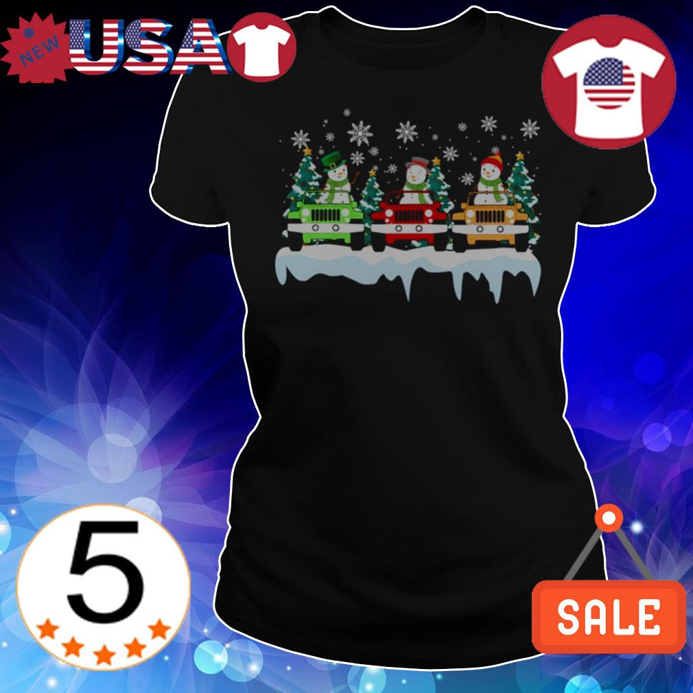 Christmas snowman riding cars sweater