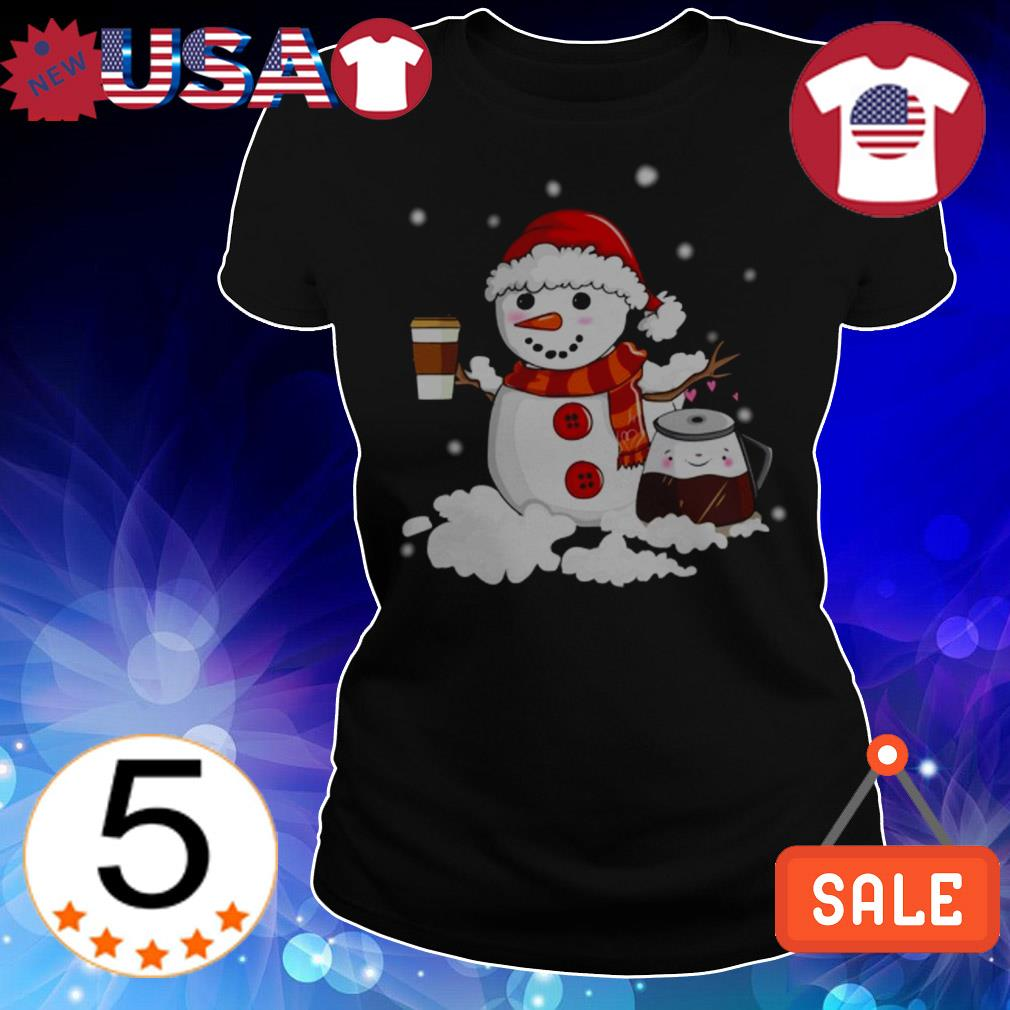 Christmas snowman holding coffee cup sweater