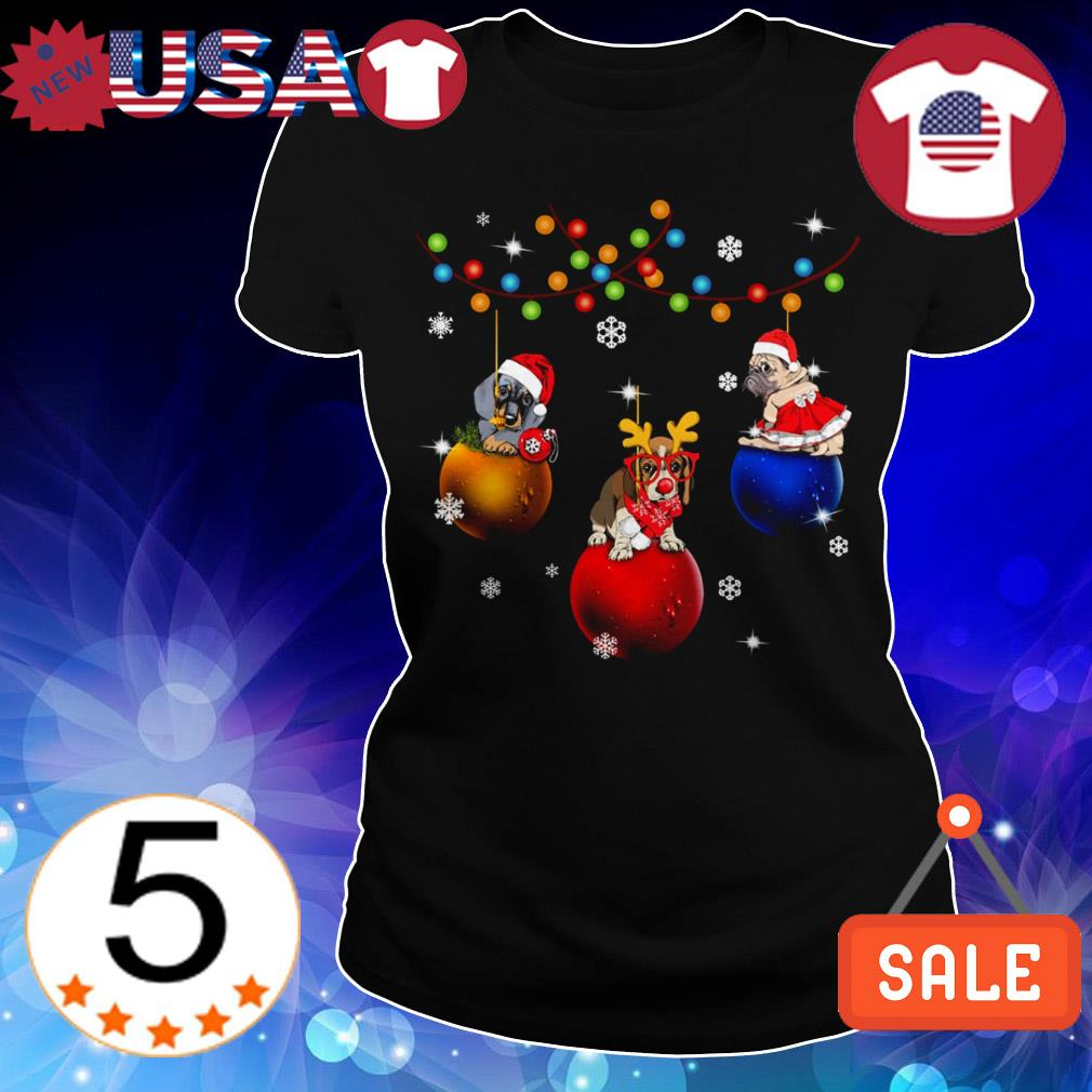 Dogs sitting on jingle bells Christmas sweater