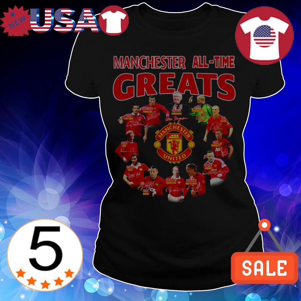 Manchester United all time greats team players signatures shirt