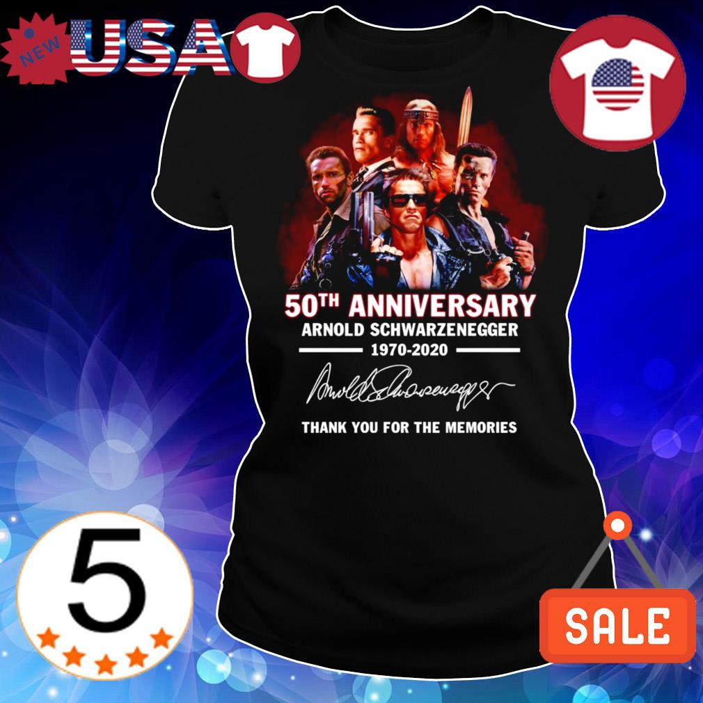Arnold Schwarzenegger 50th anniversary 1970 2020 thank you for the memories signature shirt