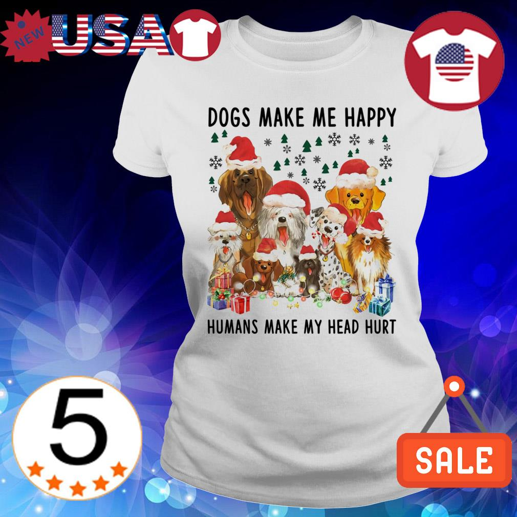 Dogs make me happy humans make my head hurt Christmas sweater