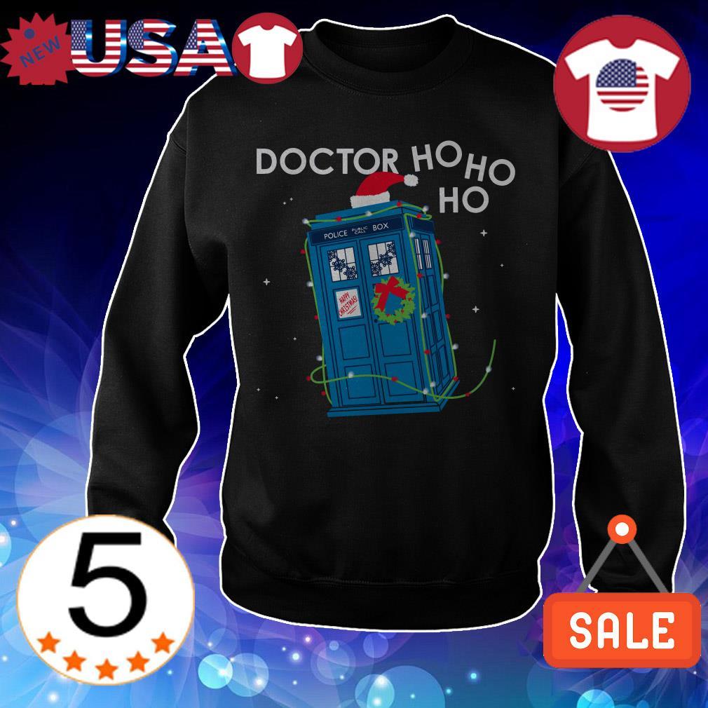 Police Box Doctor Who Ho Ho Ho Christmas sweater