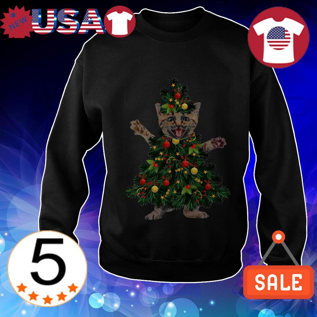 Cat pine Christmas tree sweater