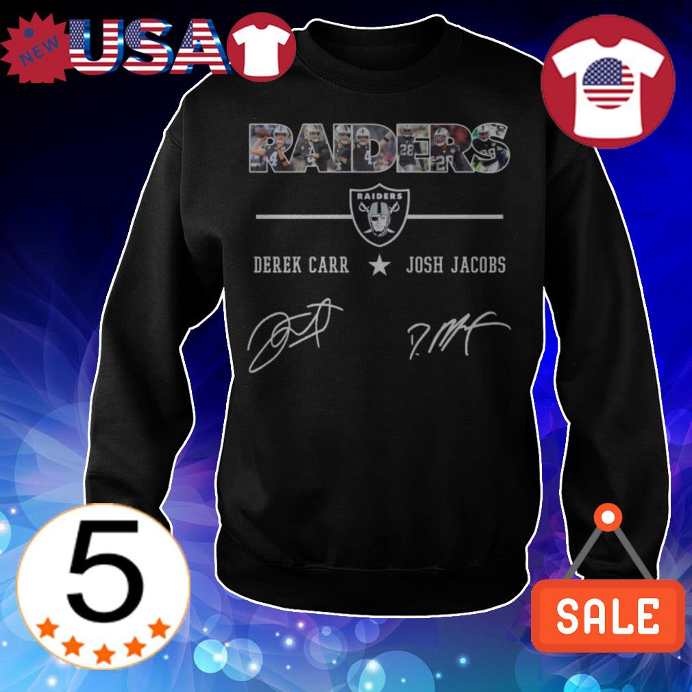 Oakland Raiders Derek Carr Josh Jacobs players signatures shirt